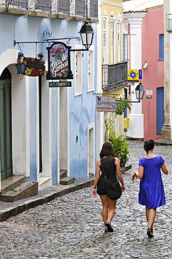 Row of houses in the historic city, with tourists, Salvador, Bahia, UNESCO World Heritage Site, Brazil, South America