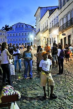Largo do Pelourinho square in the historic city at night, Salvador, Bahia, UNESCO World Heritage Site, Brazil, South America