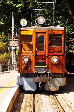 """The """"Red Flash"""" railway from 1912, in the station of Soller, Majorca, Balearic Islands, Spain, Europe"""
