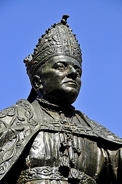 Statue of Bishop Pere-Joan Campins, Lluc monastery, Lluc, Tramuntana Mountains, Majorca, Balearic Islands, Spain, Europe
