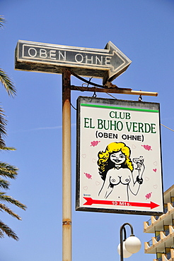 "Sign of the topless club ""El Buho Club"" on Playa de Palma, El Arenal, Majorca, Balearic Islands, Spain, Europe"