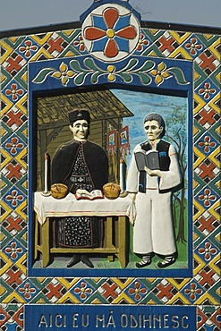 The Merry Cemetery of Sapanta, wooden cross, detail, Maramures, Romania