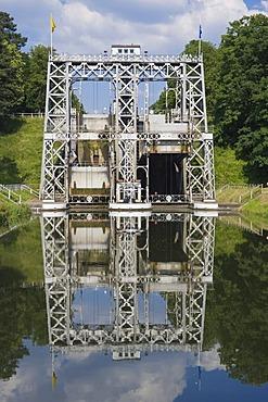 Canal du Centre, Boat Lift number 3, Unesco World Heritage Site, Bracquegnies, Hainaut Province, Belgium