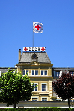 Headquarters of the International Committee of the Red Cross, ICRC, with the Red Cross flag, Geneva, Switzerland, Europe