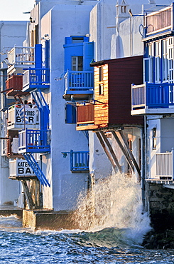 """House facades at the ocean, colored wooden balconies """"Little Venice"""", Mykonos, Cyclades, Greece, Europe"""