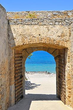 Gate in the city walls, Spinalonga Island, Kalidon, Eastern Crete, Crete, Greece, Europe
