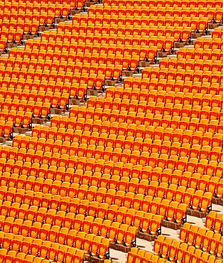 Rows of seats, grandstand, in a football stadium