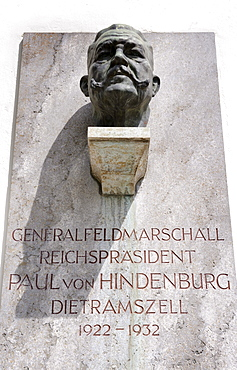 Bust of General Field Marshal and Reich President Paul von Hindenburg at the the Monastery Dietramszell, Upper Bavaria, Bavaria, Germany, Europe