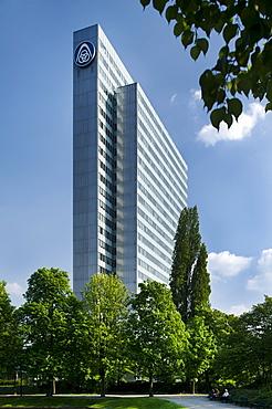 ThyssenKrupp AG, administration building, former landmark of the city of Duesseldorf, Dreischeibenhaus, Duesseldorf, North Rhine-Westphalia, Germany, Europe