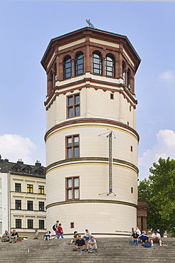 Castle tower on Burgplatz Square, seat of the maritime museum, Dusseldorf, North Rhine-Westphalia, Germany, Europe