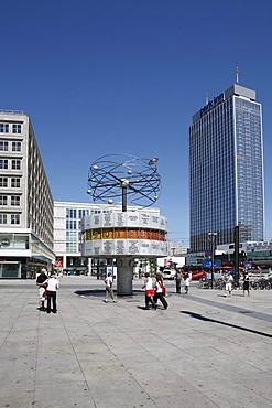 World Clock and Park Inn Hotel on Alexanderplatz square, Berlin, Germany, Europe