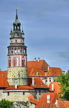 Tower of Cesky Krumlov castle, Cesky Krumau, UNESCO World Heritage Site, Bohemia, Czech Republic, Europe