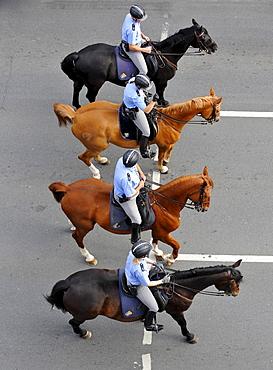 International German Gymnastics Festival 2009 procession, mounted Police, Frankfurt am Main, Hesse, Germany, Europe