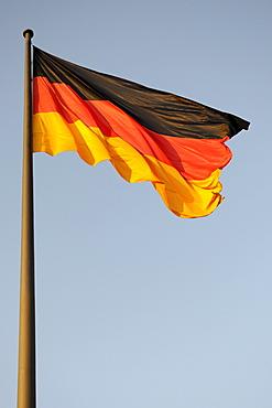 German flag in the evening sun