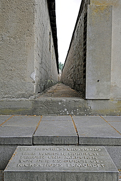 Shooting corridor in the women's concentration camp Ravensbrueck, Brandenburg, Germany, Europe