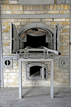 Incinerator in the crematorium of the women's concentration camp Ravensbrueck, Brandenburg, Germany, Europe