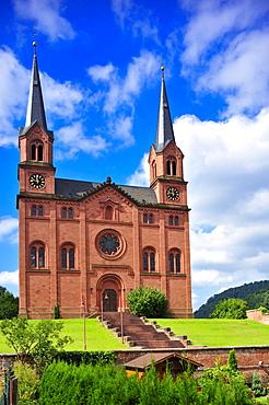 Protestant sandstone church with a double tower facade, Wilgartswiesen, Naturpark Pfaelzerwald nature reserve, Palatinate, Rhineland-Palatinate, Germany, Europe