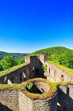 Graefenstein castle ruins, view from the keep, Merzalben, Naturpark Pfaelzerwald nature reserve, Palatinate, Rhineland-Palatinate, Germany, Europe
