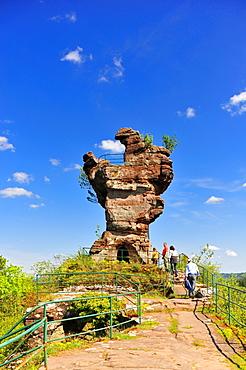 Drachenfels ruins, also called molar, Busenberg mountain, Naturpark Pfaelzerwald nature reserve, Palatinate, Rhineland-Palatinate, Germany, Europe