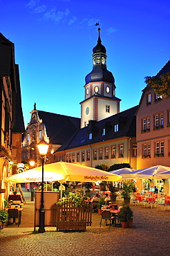 Kirchenplatz church square with town hall and town hall tower, Ettlingen, Germany, Black Forest, Baden-Wuerttemberg, Germany, Europe