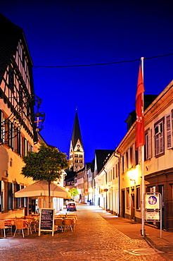 Kronenstrasse street with Herz-Jesu-Kirche Sacred Heart Church, Ettlingen, Germany, Black Forest, Baden-Wuerttemberg, Germany, Europe