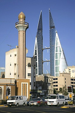 World Trade Center buildings, mosque, capital city, Manama, Kingdom of Bahrain, Persian Gulf
