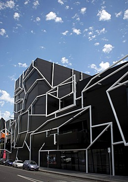Melbourne Theatre Company, MTC, new modern theatre building on Southbank Boulevard, construction made of cubes and pipes, Melbourne, Victoria, Australia