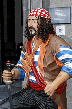 Life-size figure of a pirate, entrance to the West Frisian Museum, Hoorn, Province of North Holland, Netherlands, Europe