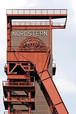 Former Nordstern colliery, shaft tower, Nordstern Park, Gelsenkirchen, North Rhine-Westphalia, Germany, Europe