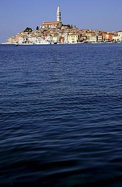 Harbor view of old town across harbor, Rovinj, Istria, Croatia