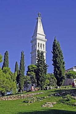 Steeple of St Euphemia on hilltop, Rovinj, Istria, Croatia