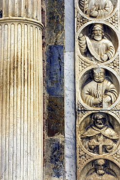 Piazza Duomo, cathedral, detail of the Duomo facade, Taormina, Sicily, Italy