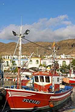 Fishing boats in Puerto Mogan, Grand Canary, Canary Islands, Spain
