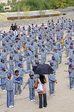 Morning report in the Indian school system at a school in Lamdon, Leh, Jammu and Kashmir, India, Himalayas, Asia