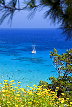 Sailing ship in the Konnos Bay, Protaras, Southern Cyprus, Cyprus, Southern Europe, Europe
