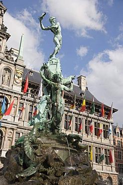 Brabo Fountain, Grote Markt, Antwerp, Belgium