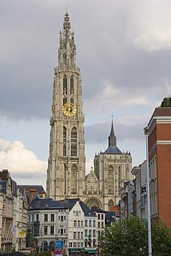 Onze-Lieve-Vrouwekathedraal, Cathedral of Our Lady from Noorderterras-Zuiderterras riverside promenade, Wandelterras Zuid, Antwerp, Belgium