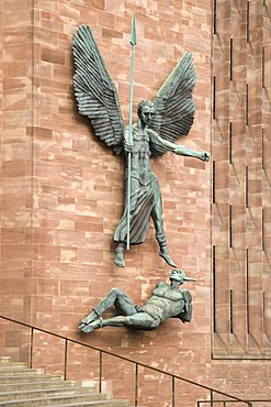 St Michael's Victory over the Devil, sculpture by Sir Jacob Epstein at St Michael's or Coventry Cathedral, Leicester, England, United Kingdom