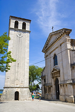 Bell tower and renaissance facade of Katedrala, Cathedral of the Assumption of the Blessed Virgin Mary, Pula, Istria, Croatia, Europe
