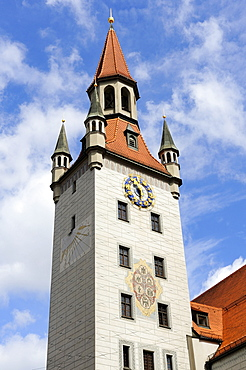 The Gothic tower of the old city hall in Munich, now Spielzeugmuseum toy museum, Bavaria, Germany, Europe