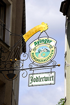 Tavern sign in the old town of Munich, Bavaria, Germany, Europe