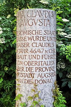 Replica of a Roman milestone or marker, Augsburg, Bavaria, Germany, Europe