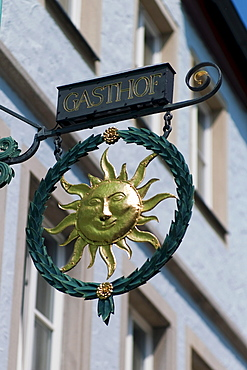 Inn sign, Rothenburg ob der Tauber, Bavaria, Germany, Europe