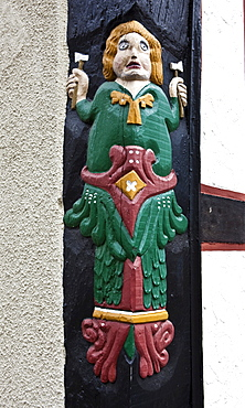 Embellishment on a half-timbered house, historic town, Alsfeld, Hesse, Germany, Europe