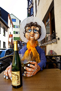 Cardboard figure in front of a wine bar, Cochem, district of Cochem-Zell, Moselle, Rhineland-Palatinate, Germany, Europe