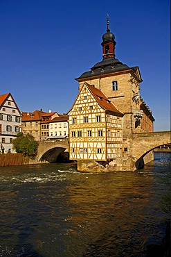Old town hall with upper bridge in the Regnitz river, Bamberg, Upper Franconia, Bavaria, Germany, Europe