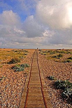 Old wooden tracks on the coast, leading to the gravel pit, Rye, county of Kent, England, Europe
