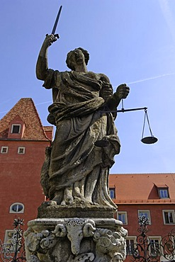 Statue of Lady Justice on a fountain, Regensburg, Upper Palatinate, Bavaria, Germany, Europe