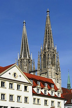 Gabled houses in front of the towers of St. Peter's Cathedral, Regensburg, Upper Palatinate, Bavaria, Germany, Europe