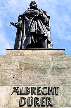 Albrecht Duerer monument against a blue sky, Nuremberg, Middle Franconia, Bavaria, Germany, Europe